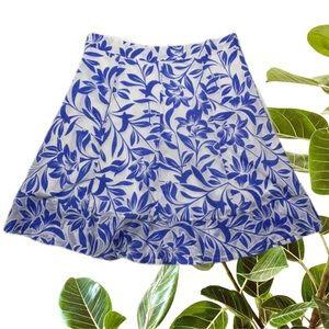 Portmans Size 12 Blue Cotton Blend A-Line Skirt